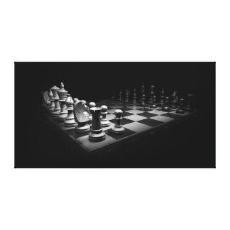 Canvas Art Chess Board Black and White