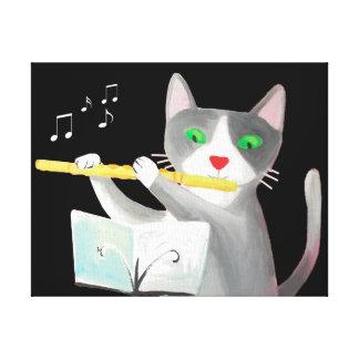 canvas art print flute player cat