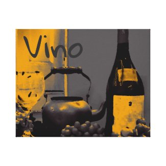Canvas Art Vino Wine Grapes Steel Grey Yellow