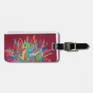 canvas chaos painting red luggage tag