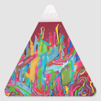 canvas chaos painting red triangle sticker