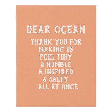 Beach Themed Canvas - Dear Ocean