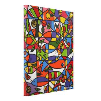 Canvas Fishes and Fruits - Tela Peixes e Frutas Impressão Em Tela Canvas