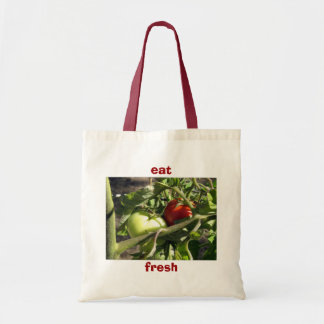 Canvas Grocery Tote Bag - Tomatoes, Red and Green