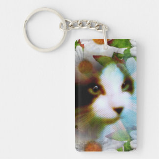 canvas look kitty surrounded by flowers Single-Sided rectangular acrylic keychain