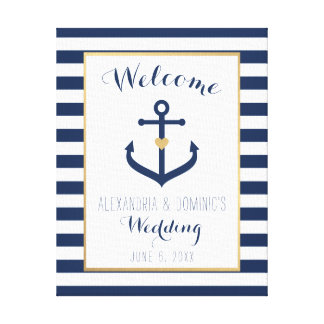 Canvas Nautical themed Wedding Welcome Sign - Navy