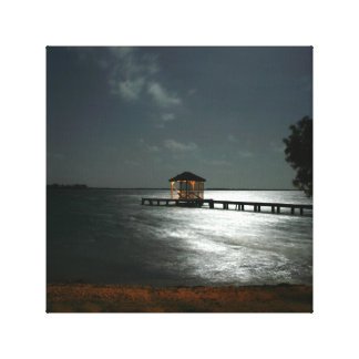 canvas of photo of moonlit Belize cabana
