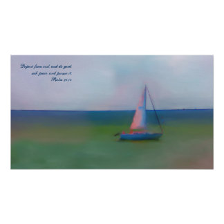 Canvas Painting, Sail Boat, Bible Verse Seek Peace Poster