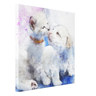 Canvas picture Dog and Cat