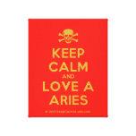 [Skull crossed bones] keep calm and love a aries  Canvas Print