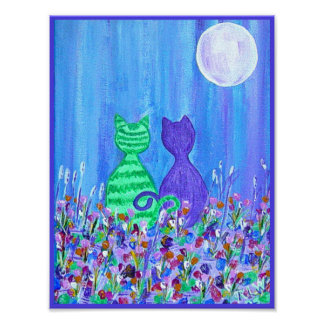 Canvas Print -Cats in the Moonlight
