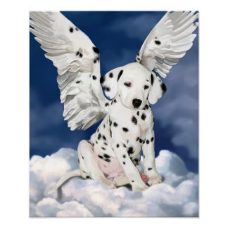 Canvas print Dalmatian puppy angel painting