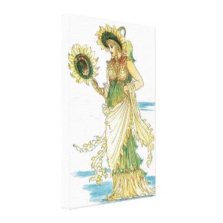 Canvas Print del girasol del vintage de señora Lona Estirada Galerias