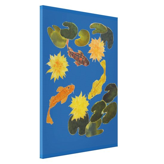 Canvas Print - Koi Among Lily Pads