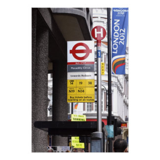 Canvas Print of a London Bus Stop Sign