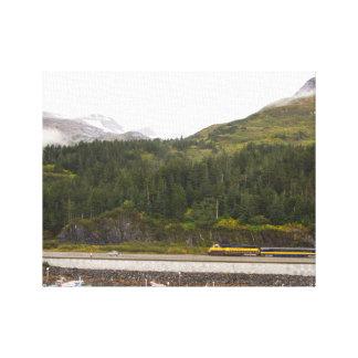 Canvas print of Mountains in Alaska, train