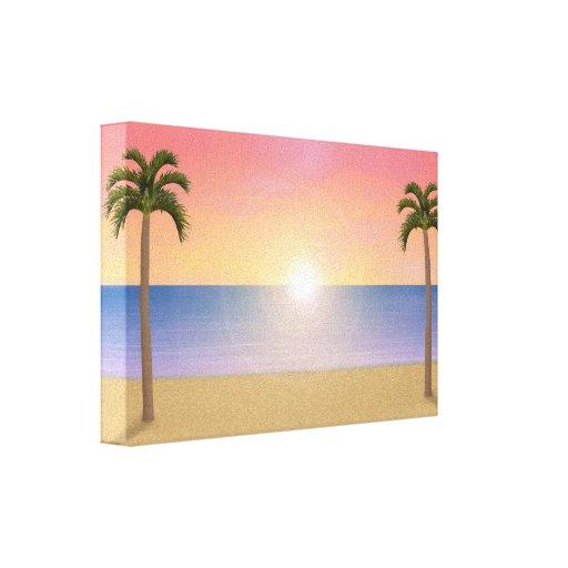 Canvas Print: Sunset / Sunrise Beach Scene