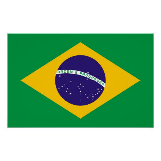 Canvas Print with Flag of Brazil