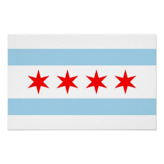 Canvas Print with Flag of Chicago, U.S.A.