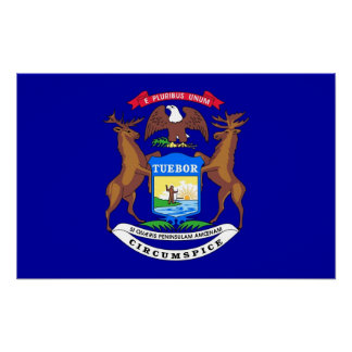 Canvas Print with Flag of Michigan, U.S.A.