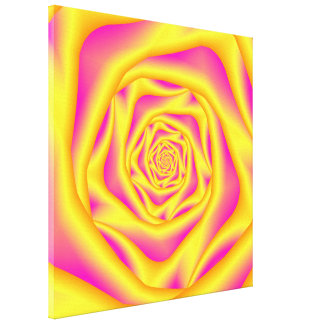 Canvas   Spiral Rose in Yellow and Pink