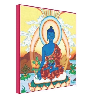CANVAS SQUARE - Medicine Buddha - Healing Master Stretched Canvas Print