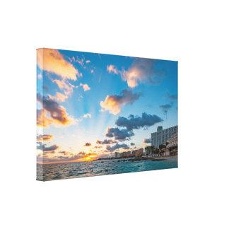 Canvas - Sunrise over Punta Cancun, Mexico