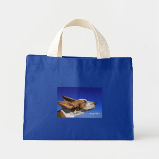 Canvas Tote Bag Basset Hound Ears Flapping