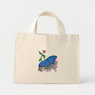 Canvas Tote-Butterfly Blue Mini Tote Bag