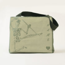 Canvas Utility Tote DANCING SKELETON WITH TOP HAT