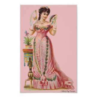 CANVAS WALL ART VICTORIAN ERA FRENCH LADY WITH FAN
