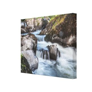 Canvas waterfalls cascading water in Cenarth Falls