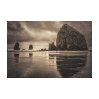 Canvas Wrap: Haystack Rock And Needles Toned