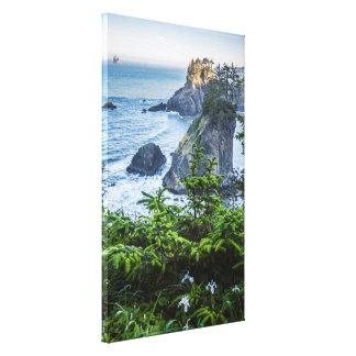 Canvas Wrap: Sea Stacks And Iris (Portrait)