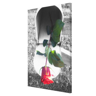 Canvas - Wrapped - Rose in Rustic Mailbox