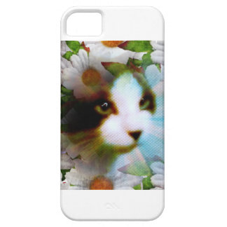 canvass kitty surrounded by flowers iPhone SE/5/5s case