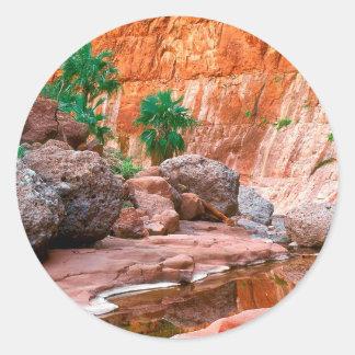 Canyon Hidden Oasis El Cajon Baja Mexico Classic Round Sticker