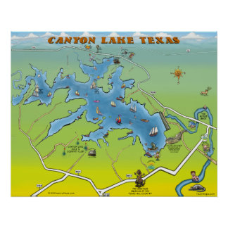 Canyon Lake Texas Cartoon Map Poster