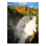 Canyon Sainte-Anne Waterfall Rainbow Postcard