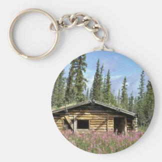 Canyon Village log cabin Basic Round Button Keychain