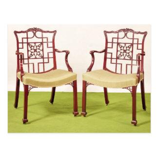 Caoba de Chippendale que cena sillas Postal
