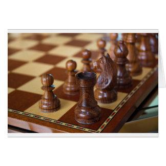 Caoba del ajedrez tarjeta de felicitación