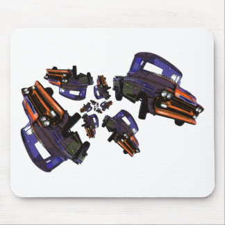 Caos anaranjado púrpura del camión del vintage tapete de raton