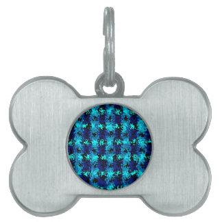Caos en azules placa de nombre de mascota