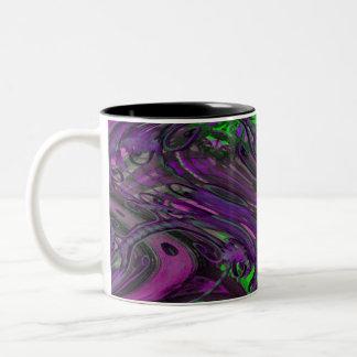caos púrpura verde tazas de café