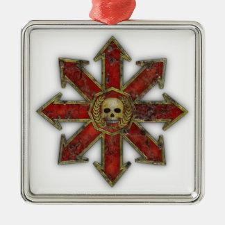 Caos - rojo adorno navideño cuadrado de metal