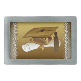 Cap and Diploma, Graduation Announcement, Gold Rectangular Belt Buckles