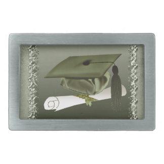 Cap and Diploma, Graduation Announcement, Green Rectangular Belt Buckle