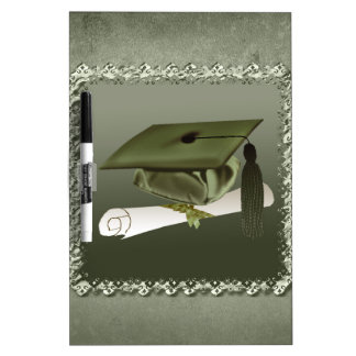 Cap and Diploma, Graduation Announcement, Green Dry-Erase Board