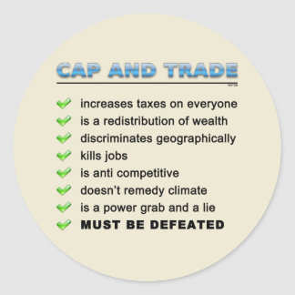Cap And Trade Scam Classic Round Sticker